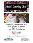 Colouring Club Poster for Nov 8, 2017