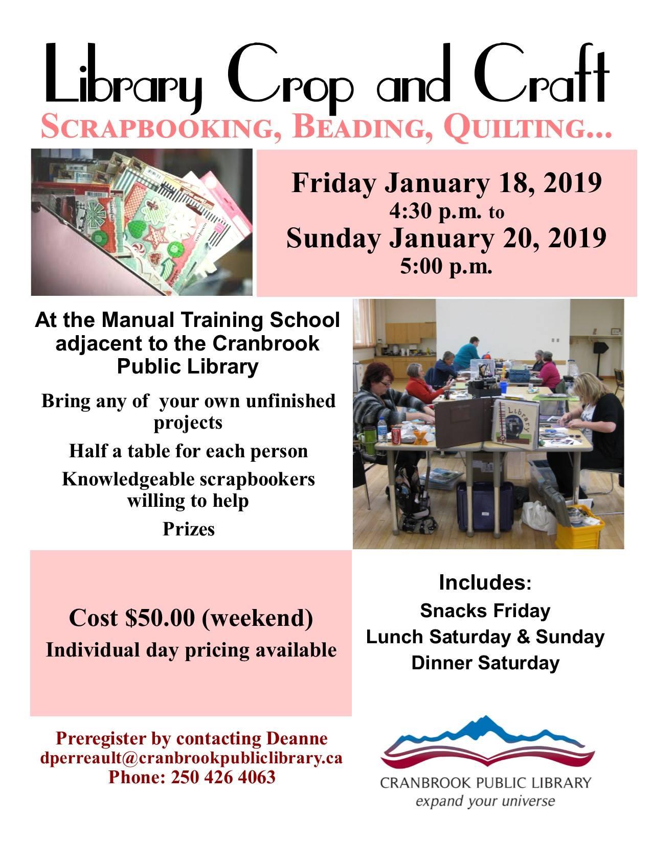 Scrapbooking Weekend @ Cranbrook Public Library Manual Training Room