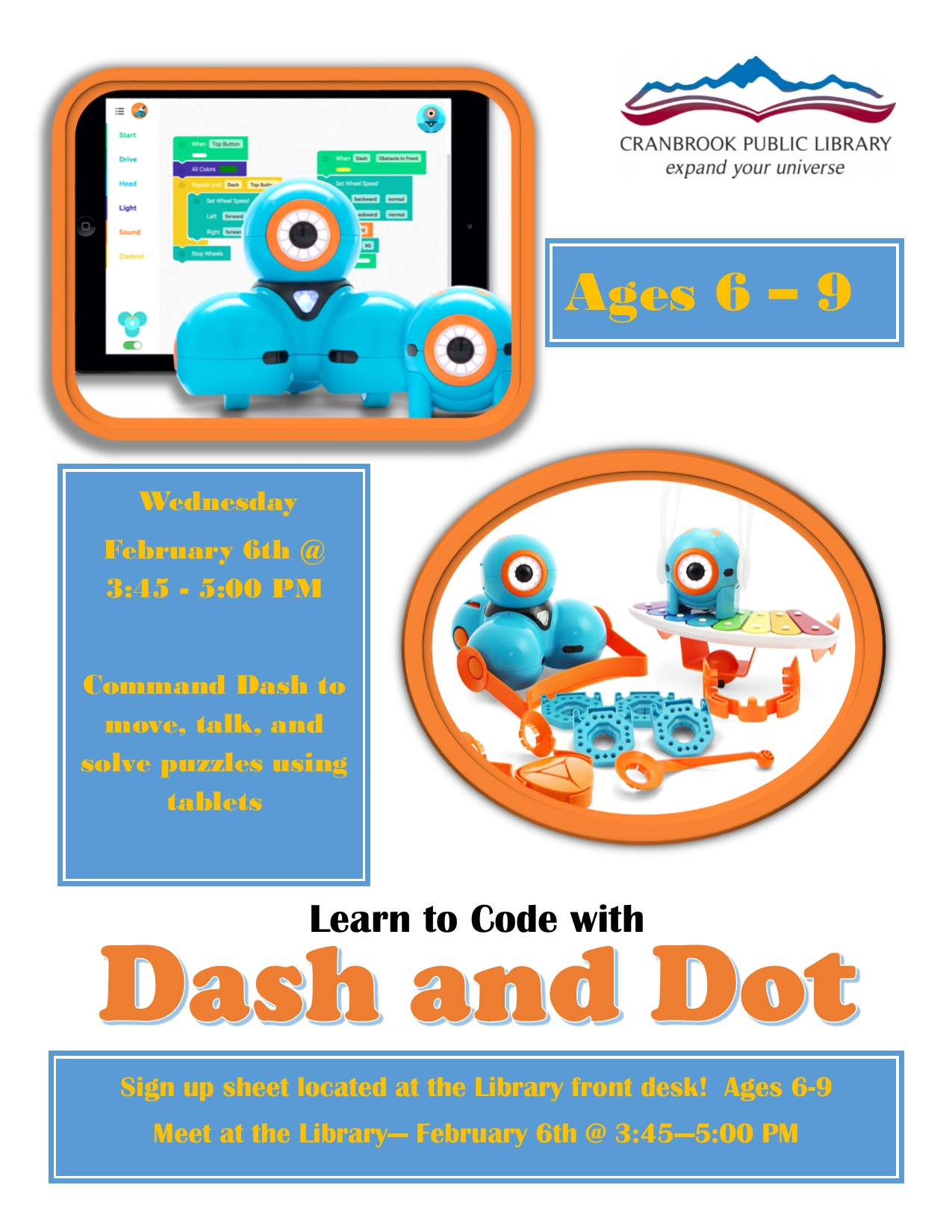 Learn to Code with Dash and Dot (Ages 6-9) @ Cranbrook Public Library