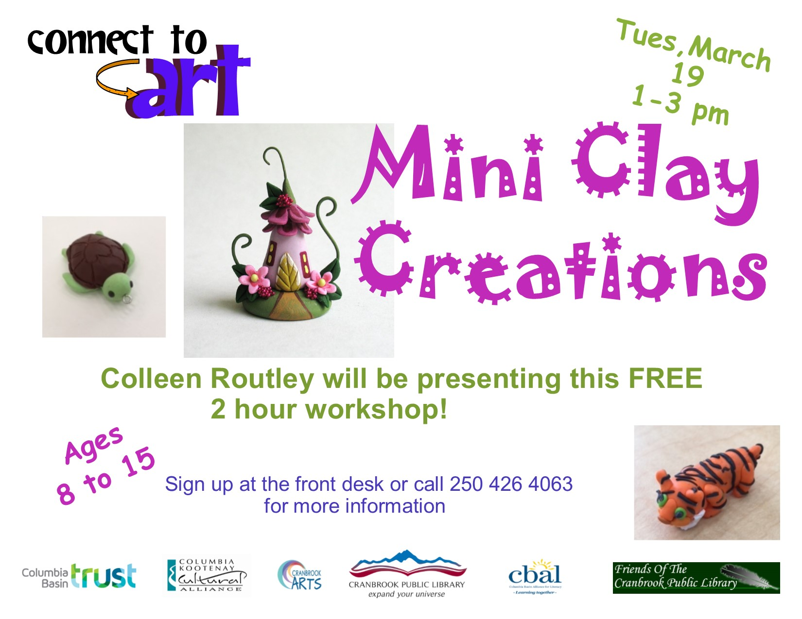 Connect to Art: Mini Clay Creations (Ages 8-15) @ Cranbrook Public Library