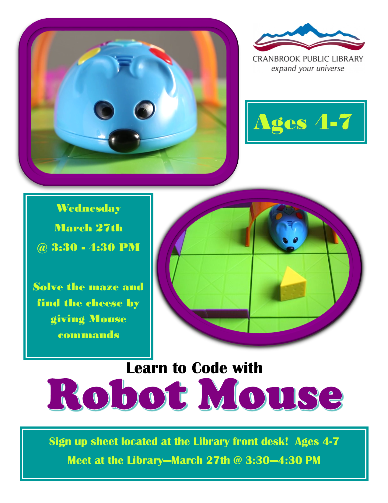 Learn to Code With Robot Mouse (Ages 4-7) @ Cranbrook Public Library