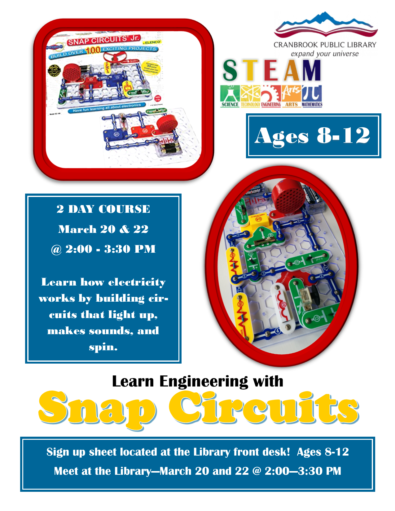 Learn Engineering with Snap Circuits Jr. (Ages 8-12) @ Cranbrook Public Library
