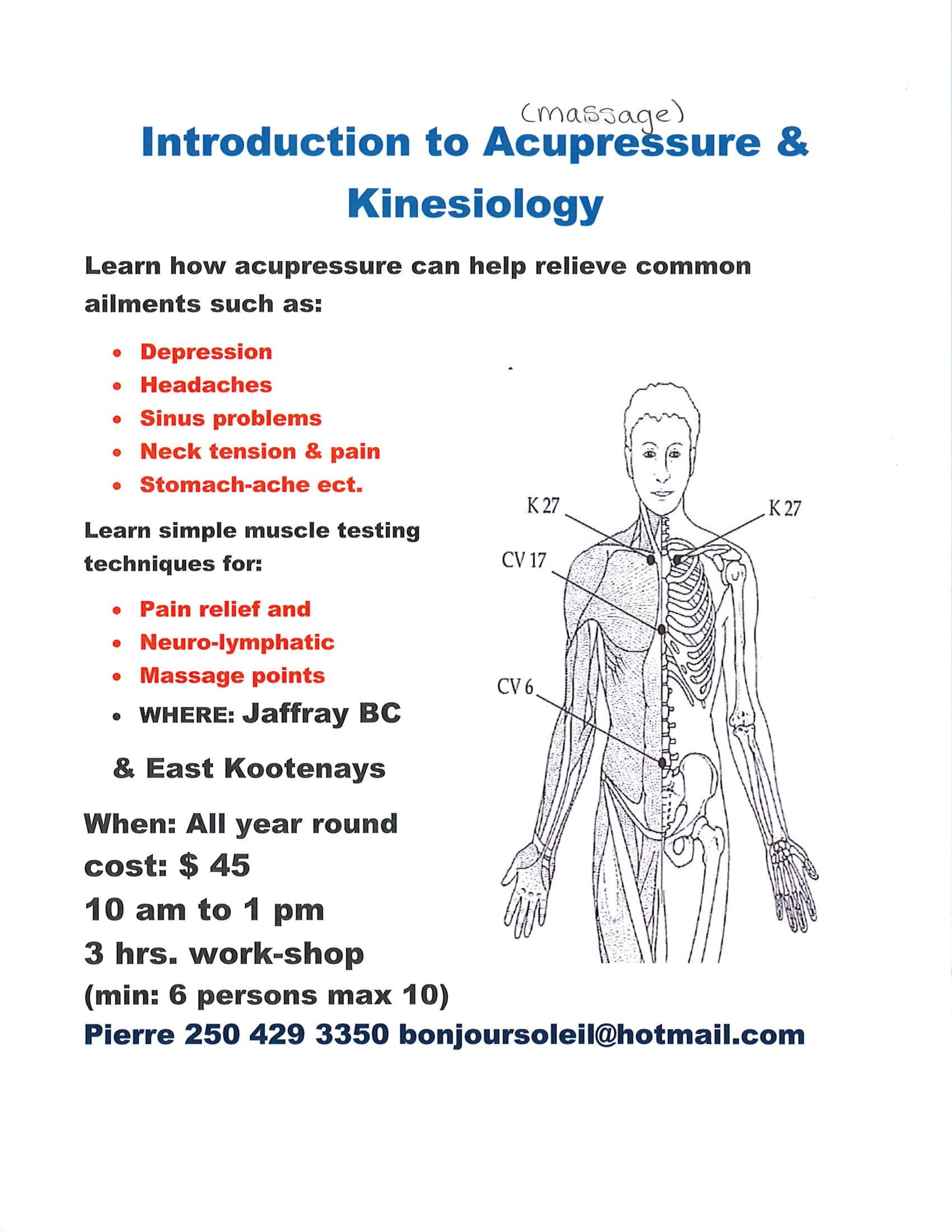 Introduction to Acupressure and Kinesiology @ Cranbrook Public Library Manual Training School
