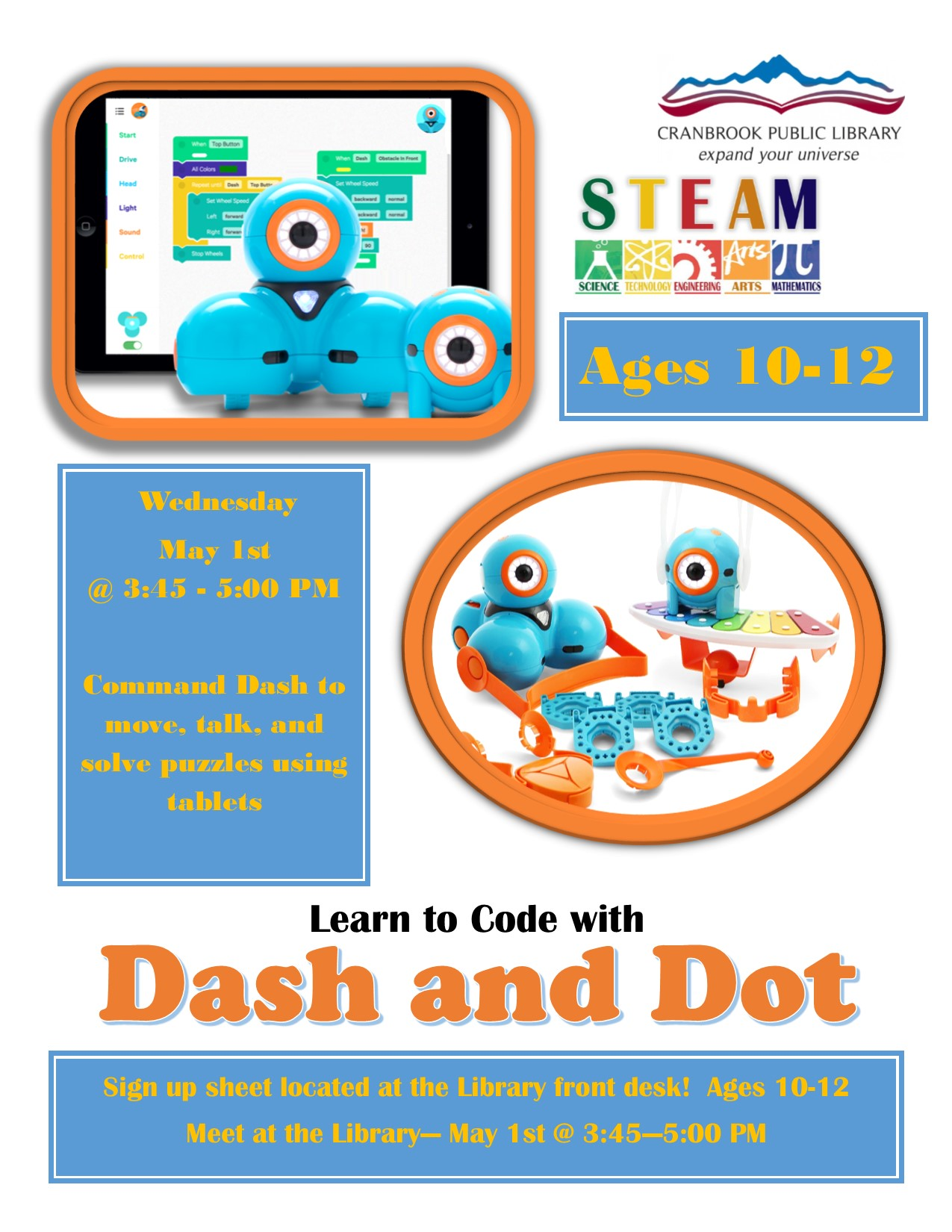 Learn to Code with: Dash and Dot (Ages 10-12) @ Cranbrook Public Library