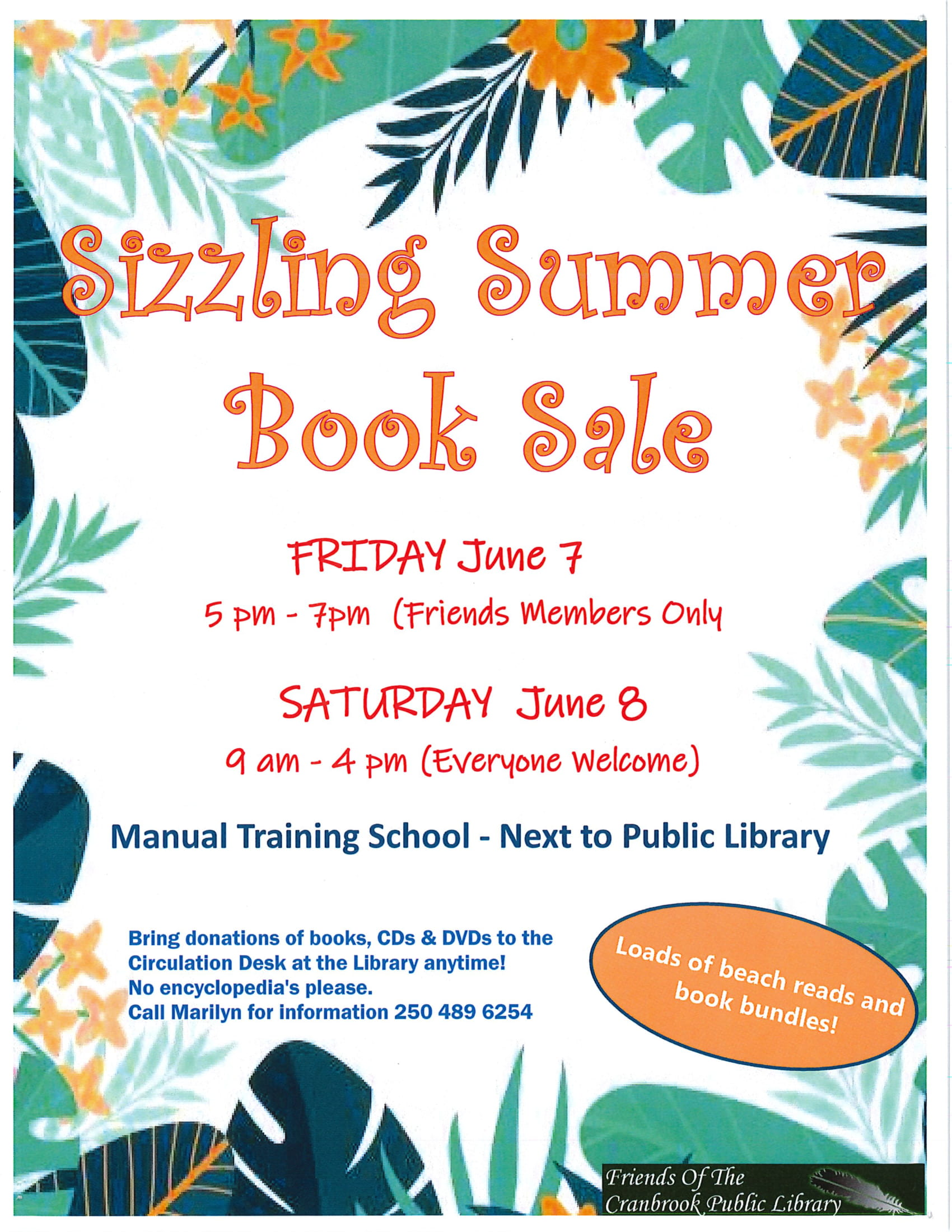 Sizzling Summer Book Sale - Friends of the Library @ Cranbrook Public Library Manual Training Room