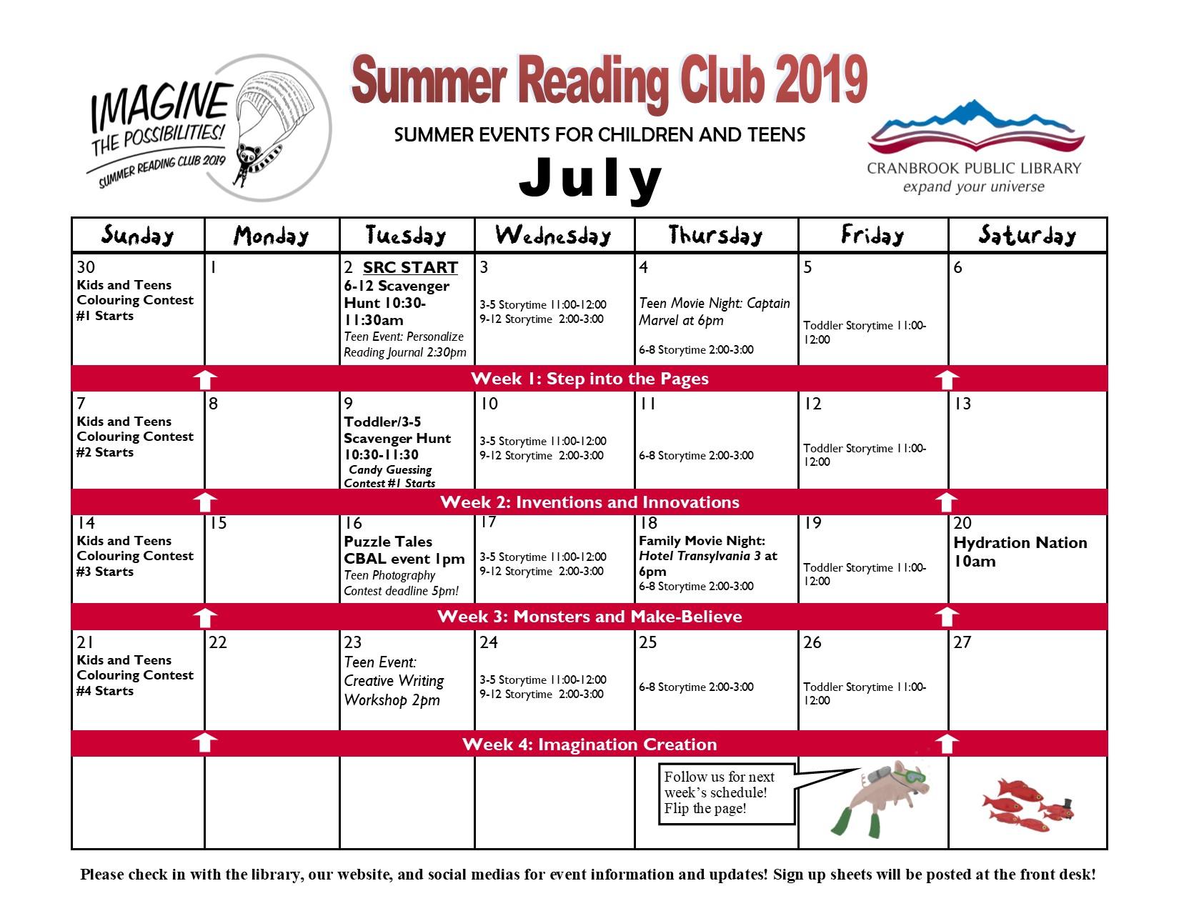 Summer Reading Club 2019 @ Cranbrook Public Library