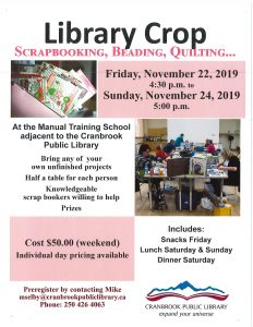 Fall 2019 Scrap Booking Weekend @ Cranbrook Public Library Manual Training Room