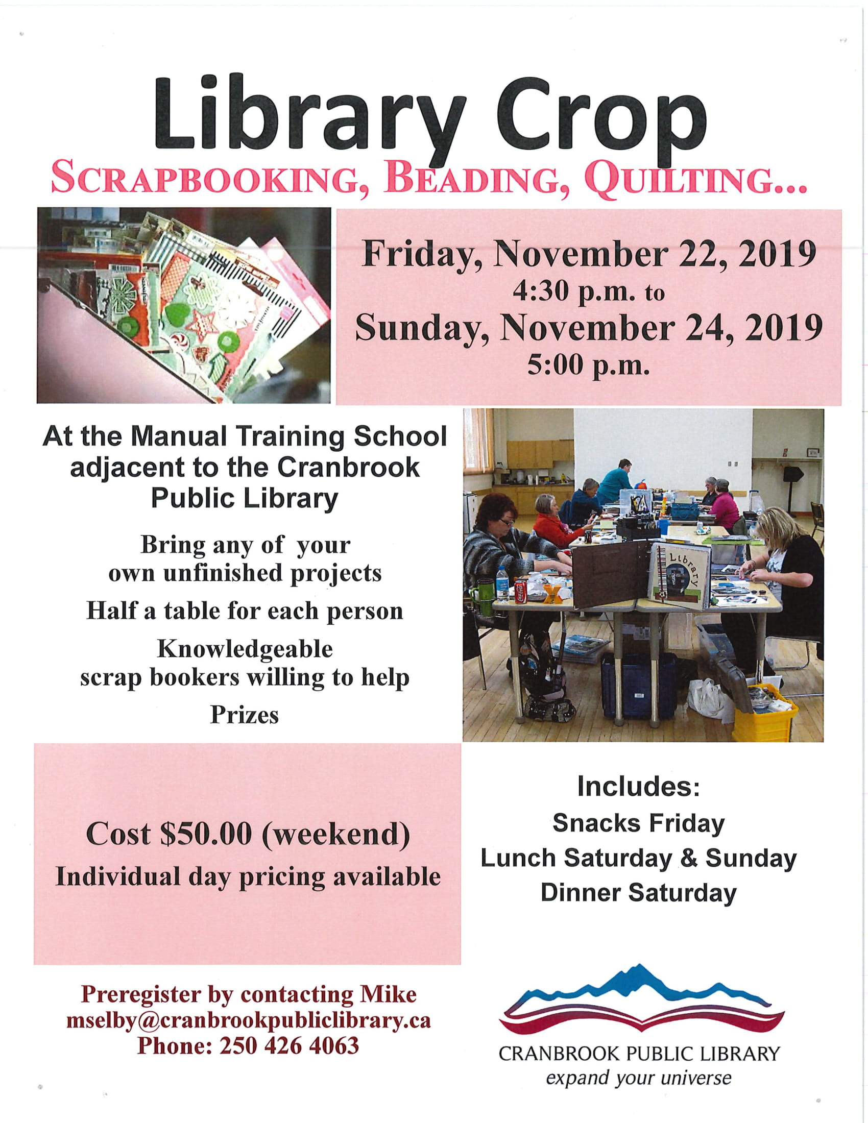 Fall 2019 Scrap Booking Weekend Day 2 @ Cranbrook Public Library Manual Training Room