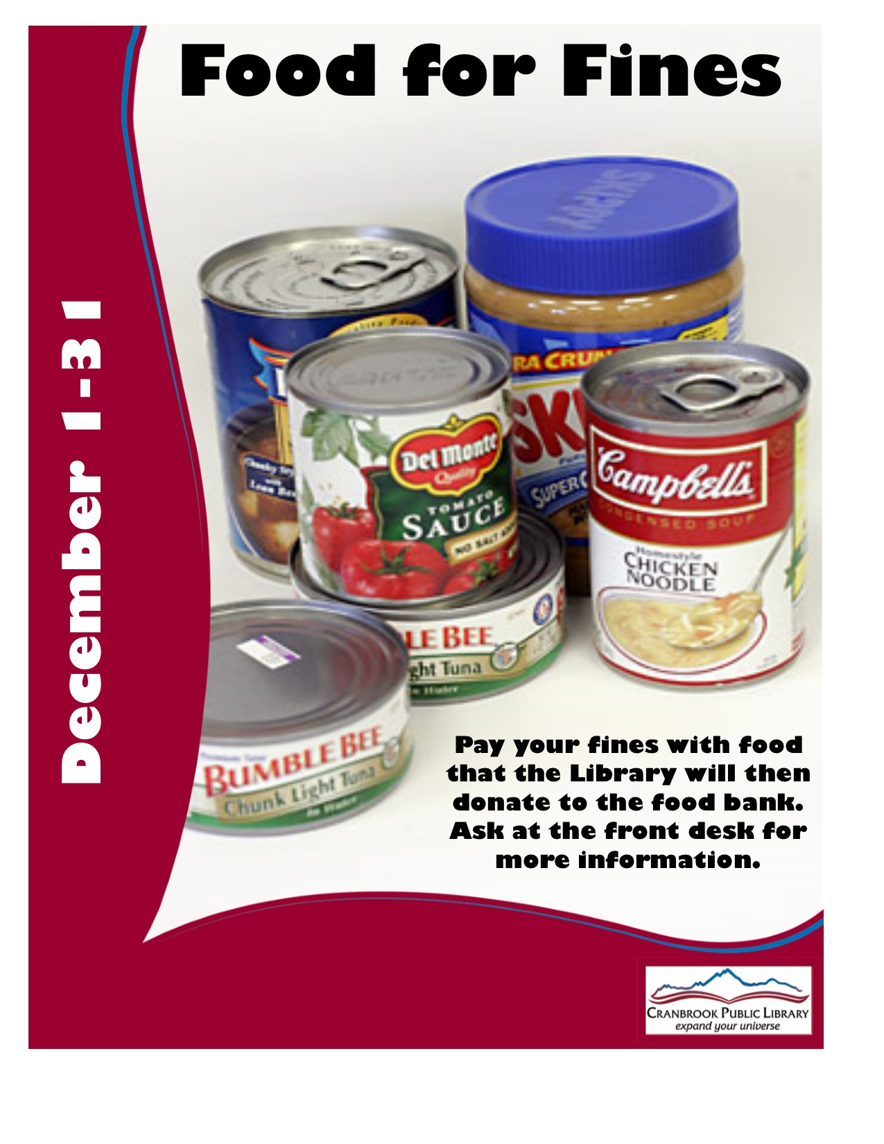 FOOD FOR FINES DECEMBER 1 TO DECEMBER 31 @ Cranbrook Public Library Manual Training Room