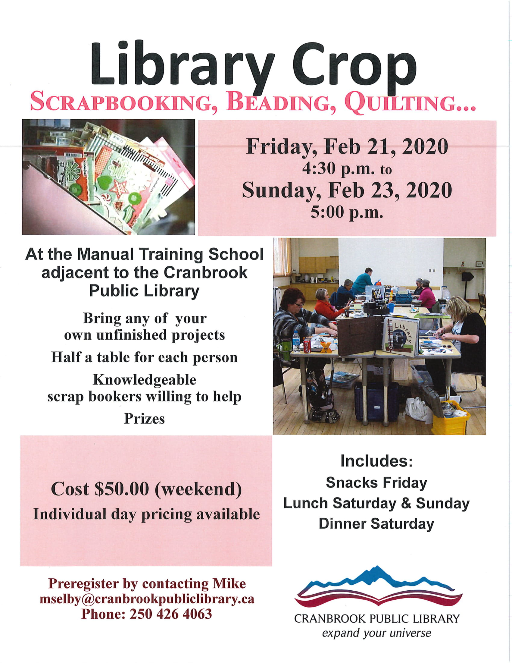 February Scrap Booking Event Day 2 @ Cranbrook Public Library Manual Training Room