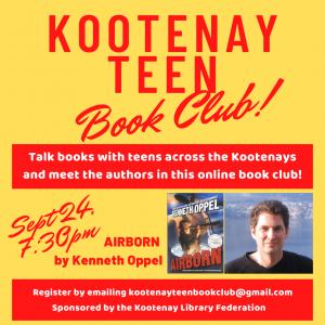Kootenay Teen Book Club: Meet Kenneth Oppel @ Online Event