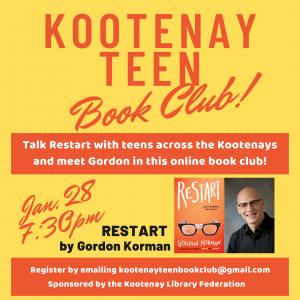 Kootenay Teen Book Club - Meet Gordon Korman! @ Virtual/Online